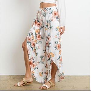 Pants - Tie Front Floral Slit Pants